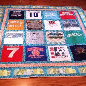 Blue Orange and Green Memory Quilt